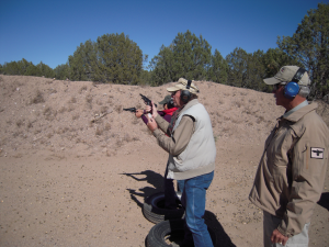 Jim Wilson and Il Ling New take part in Gunsite's Team Tactics for Two class.