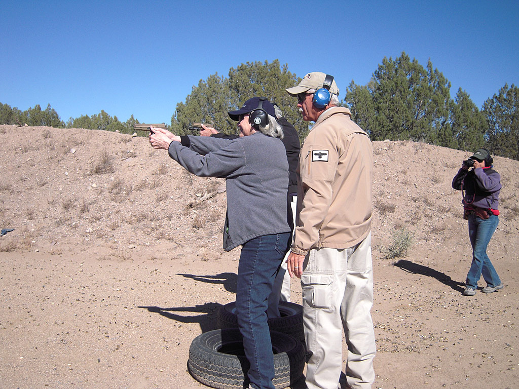 Students take the 250 pistol class at Gunsite Academy.