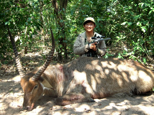 Il Ling and a really nice waterbuck, also taken with her Ruger sixgun Sheriff Jim Wilson