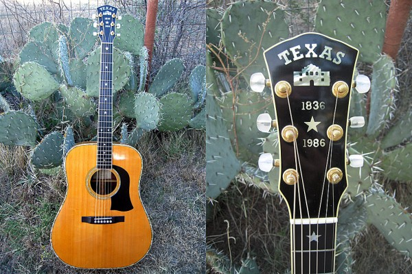 Sheriff Jim Wilson's new Mossman Dreadnought guitar, part of Texas Heritage